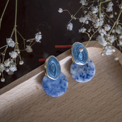 Blue Round Disk Stone Earring