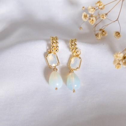 C Shape Opal Stone Earring