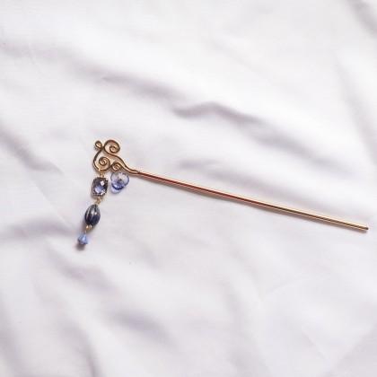 Oriental Blue Sky Cloud Gold Hair Pin