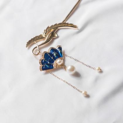 Oriental Blue Fan Pearl Gold Hair Pin