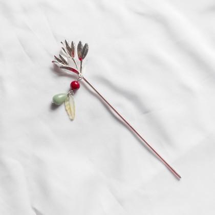 Oriental Nature Leaf Silver Hair Pin