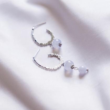 Blue Lace Agate C Shape Silver Earring