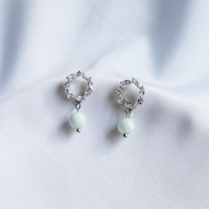 Diamond Wreath Larimar Silver Earring