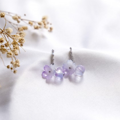 Haru Hana Fantasy Purple #2 Silver Earring