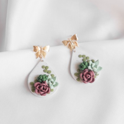 Succulent #1 Polymer Clay Earring