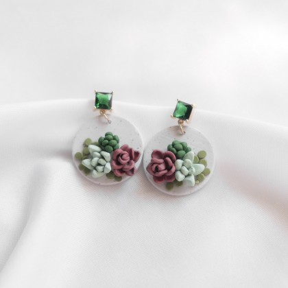 Succulent #3 Polymer Clay Earring