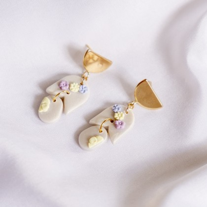Pastel Pearlescent #14 Polymer Clay Gold Earring