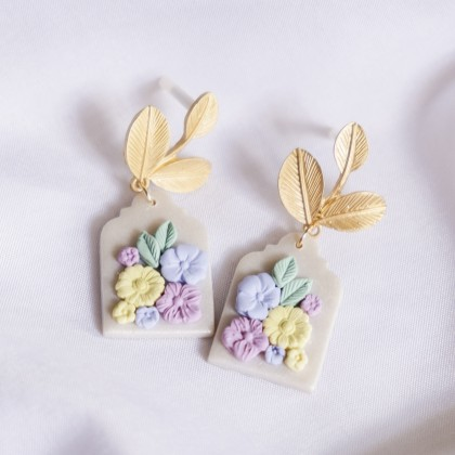 Pastel Pearlescent #16 Polymer Clay Gold Earring