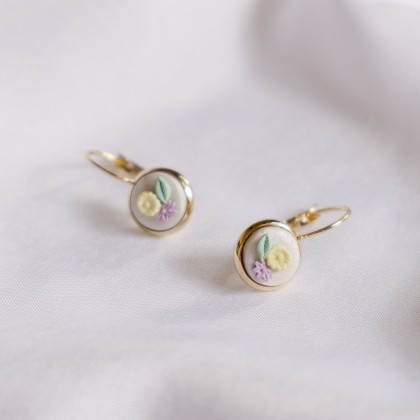 Pastel Pearlescent #17 Polymer Clay Gold Earring
