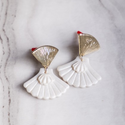 Seashell Pearlescent Polymer Clay Gold Earring