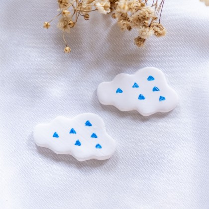 Retro Cute Cloud Big Polymer Clay Earring