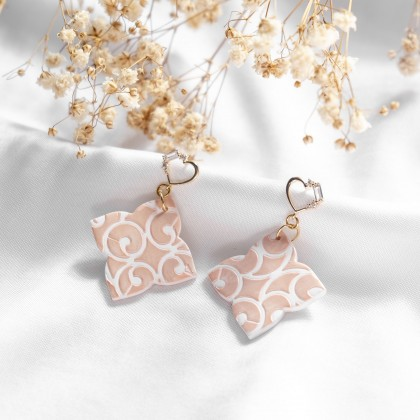 Glittery Blush Texture #1 Polymer Clay Earring