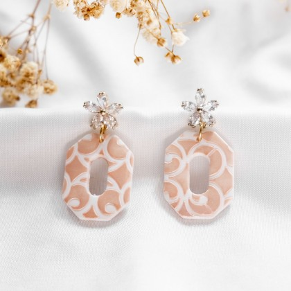 Glittery Blush Texture #2 Polymer Clay Earring