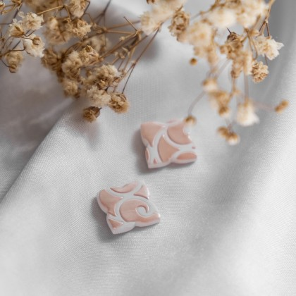 Glittery Blush Texture #5 Polymer Clay Stud Earring