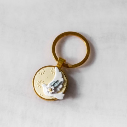 Dove and Daisy Polymer Clay Key Chain