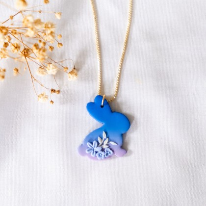 Mystical Bunny Mid Autumn Polymer Clay Gold Necklace Earring