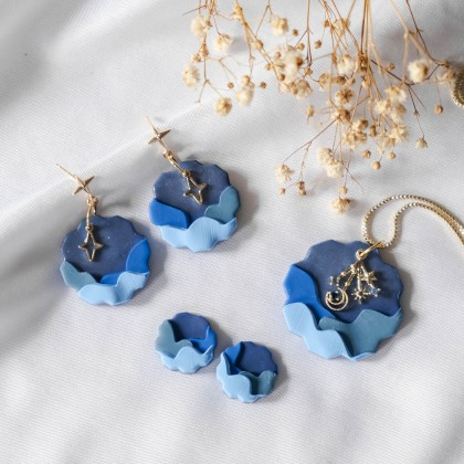 Mid Autumn Cloud Star Polymer Clay Gold Necklace Earring