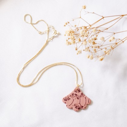 Fall Gingko Leaf Maple Leaf Polymer Clay Gold Necklace
