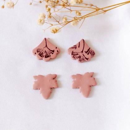 Fall Maple Leaf Gingko Leaf Polymer Clay Stud Pack Earring