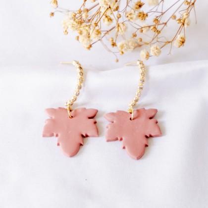 Fall Gingko Leaf Maple Leaf Polymer Clay Earring