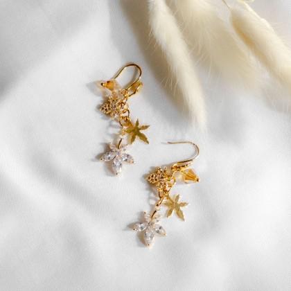 Fall Maple Leaf Gold Bracelet Earring